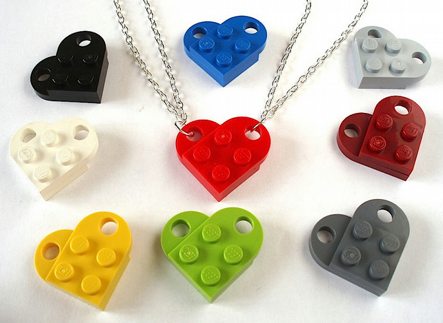 Love Heart Friendship Necklaces x2 made with LEGO® plates Valentines Day gift