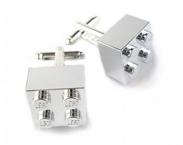 Chrome Silver Brick Cufflinks. Handmade with LEGO(r) Bricks. Weddings Groomsmen
