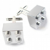 Chrome Silver Cufflinks Handmade with LEGO Bricks Valentines day Fathers day