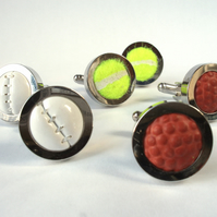 Real Sports Ball Cufflinks - Made from Real Golf balls, Footballs, Tennis balls