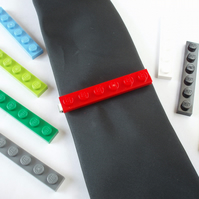 Tie Slide - Tie Clip - Handmade using LEGO(r) Bricks - Weddings Grooms Best Man