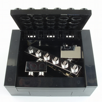 Chrome Cufflinks & Tie Slide set includes Box Handmade with LEGO® Bricks plates