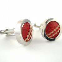 Cricket Ball Cufflinks - Made from Real Cricket balls