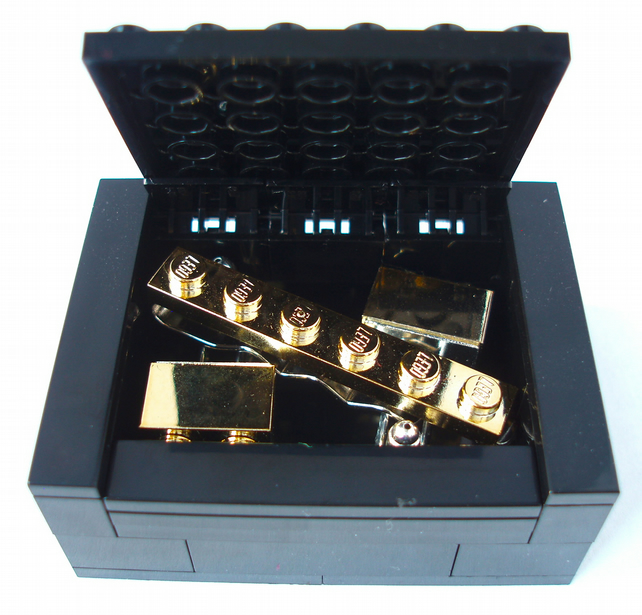 Metallic Gold Cufflinks & Tie Slide set with Box - Handmade with LEGO® Bricks