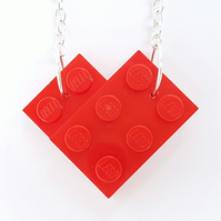 Heart Necklace - Handmade with LEGO® plates- Silver or Gold Plated Chain