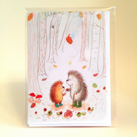 Grandpa and Grandson Hedgehogs Finding Conkers blank greetings card