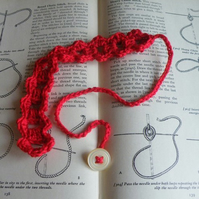 Red Adjustable Button Bookmark