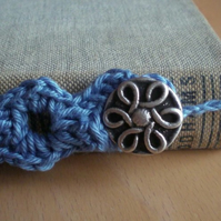 Blue Adjustable Button Bookmark