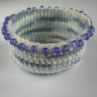 Blue Beaded Crochet Bowl - CUSTOM ORDER FOR BITSTOBUY