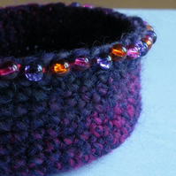 Purple Beaded Crochet Bowl