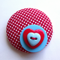 Valentines Day Button Brooch