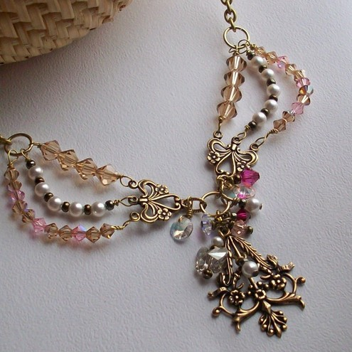 Swarovski and brass necklace