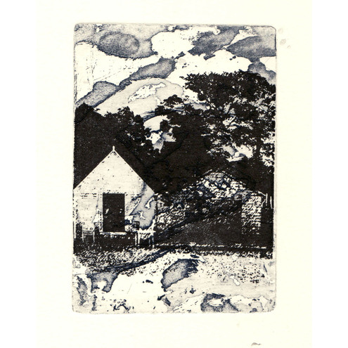 Beach Days  Beach Hut Etching & Gocco Print
