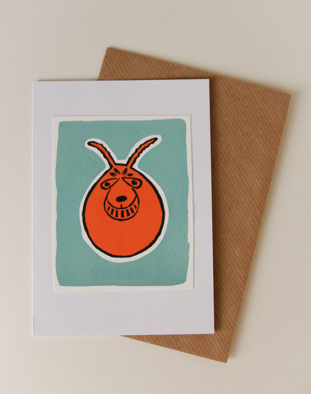 Space hopper handmade greeting card