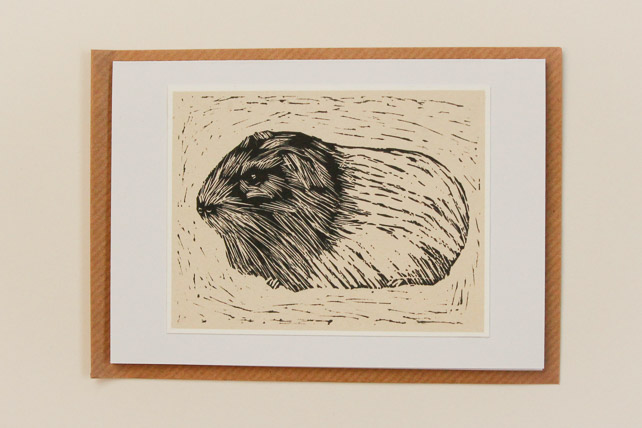 Guinea pig handmade greeting card