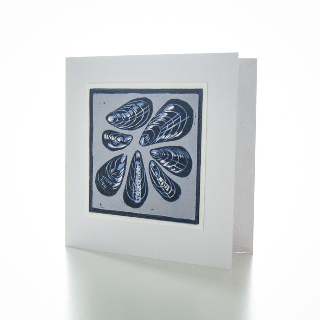 Mussels lino print card