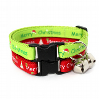 Merry Christmas Cat Collar Red or Lime Green