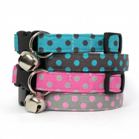Polka Dots Spots Cat Collar Pink Grey Turquoise Brown