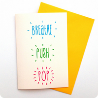 breathe push pop baby shower card