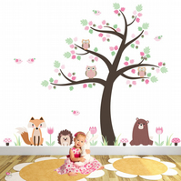Woodland Nursery Wall Stickers, Forest Animals, Baby Girls Fox and Owl Decals
