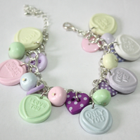 Love heart Charm Bracelet with Gift Box