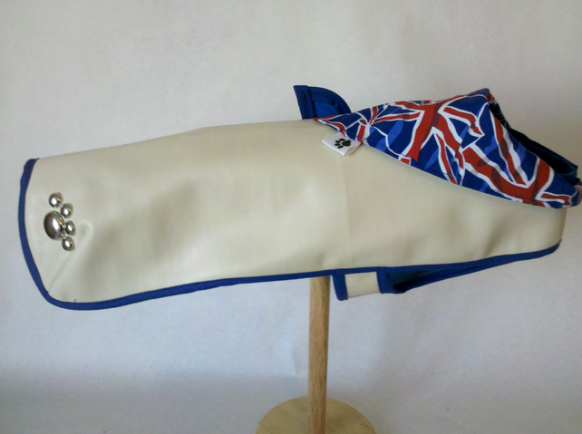 SALE!!!!!!Cream Jubilee Dog Coat with a Union Jack bandana