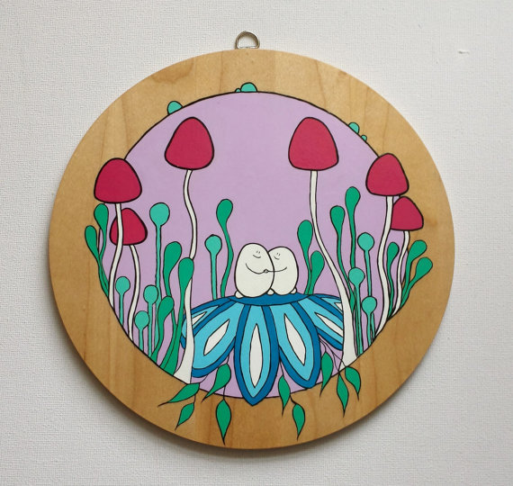 Wooden Acrylic Painting - Cheps in Their Round     - Folksy