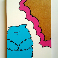 Grumpy Monster - Original Acrylic Painting on Wood - Chep