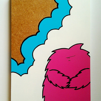 Pink Grumpy Monster - Acrylic Painting on Wooden Panel