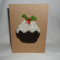 christmas pudding knitted card