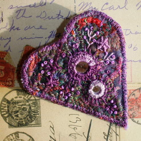 Silk and felt brooch