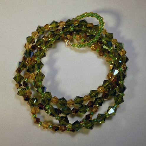 Green Multi-strand Swarovski Beaded Bracelet