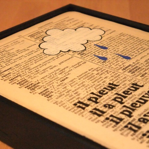 Il Pleut // Original Framed Artwork on vintage book page