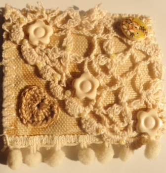 Cream textile brooch