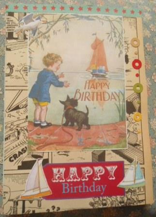 The boy, a dog and a boat birthday card