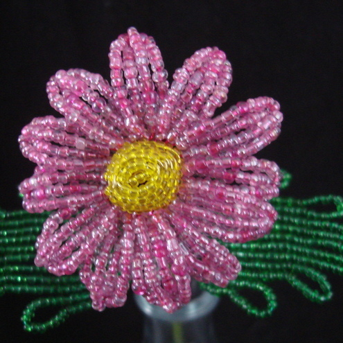 Pink French Beaded Daisy! (d)