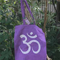 Fair trade cotton purple om batik tote bag