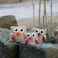 Three little crochet owls