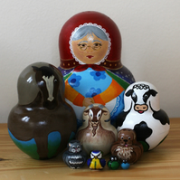 There Was an Old Lady... 9 piece hand painted matryoshka Russian Dolls