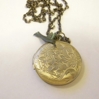 Floral Hummingbird Locket