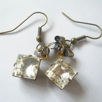 Vintage Glass Diamond Earrings