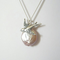 Freshwater Pearl and Swallow Necklace