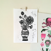 Handmade Lino Cut Print of Flowers