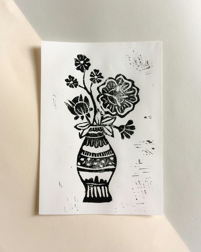 Lino Cut Print of Flowers, Botanical illustration, Handmade linoprint