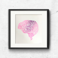 Risograph Print of Brain, Contemporary illustration, Wall art, Unusual gift