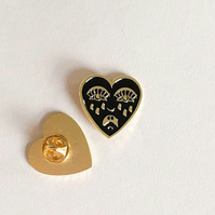Crying heart pin badge, soft enamel lapel pin, Bert Grimm, black and gold
