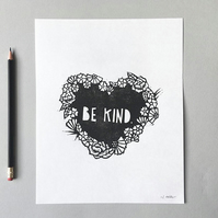 Be Kind lino print