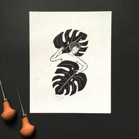 Lady Monstera lino print, monstera leaf, cheese plant print