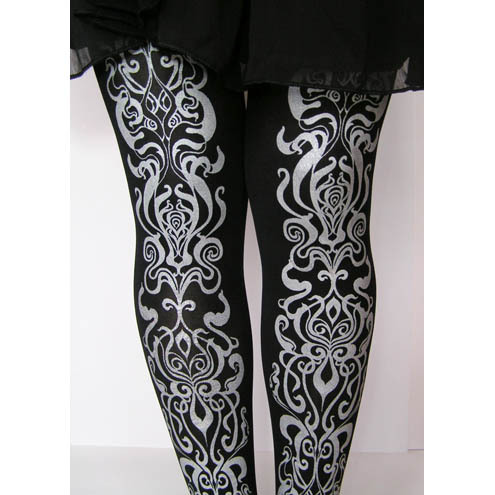 Printed Tights Small Art Nouveau Black and Silver