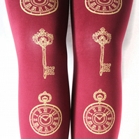 Pocket Watch and Keys Gold Burgundy Tights Medium Tall Oxblood Bordeaux Red
